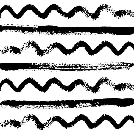 Pattern of straight and wavy lines with texture drawn with brush, sloppy brush strokes. Vector illustration. Template for scrapbooking. For web, banners, greeting cards, for design clothing, interior. Ilustração