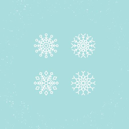 Vector illustration. Icons set of white snowflakes.