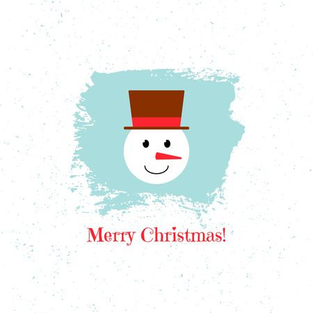 Snowman on blue background. Vector isolated illustration. Ilustração