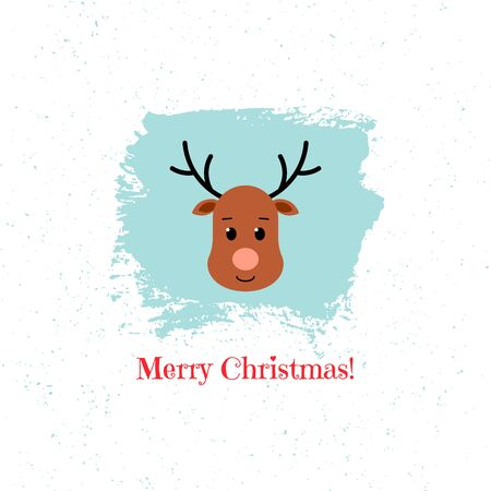 Christmas deer on blue background. Vector illustration.