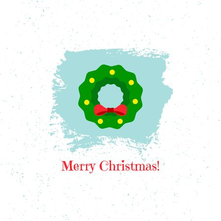 Christmas wreath on blue background. Vector illustration. Ilustração