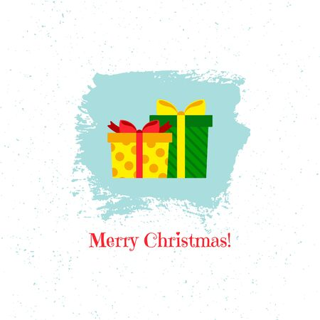 Christmas gifts on blue background. Vector illustration. Ilustração