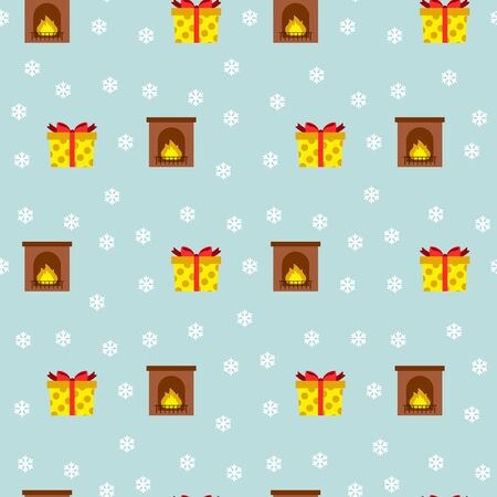Christmas seamless pattern with fireplaces, gifts and snowflakes. Vector illustration. For greeting cards, web, wallpaper, wrapping paper, scrapbooking, for printing on packages, cups, plates, textile Ilustração