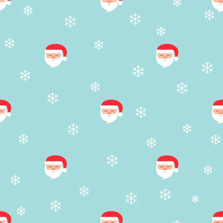 Christmas seamless pattern with Santa Claus and snowflakes on blue background. Vector illustration. For greeting cards, web, wallpaper, wrapping paper, scrapbooking, for printing on clothes, package.