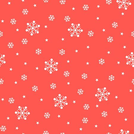 Christmas seamless pattern with snowflakes and stars on red background. Vector illustration. Winter pattern. For web, wallpaper, wrapping paper, scrapbooking, for printing on clothes, textile, package