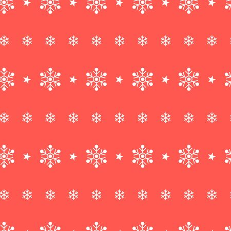 Winter seamless pattern with snowflakes and stars on red background. Vector illustration. Christmas pattern. For web, wallpaper, wrapping paper, scrapbooking, for printing on clothes, textile, package Çizim