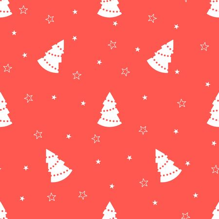 Christmas seamless pattern with christmas trees and stars on red background. Vector illustration. For web design, wallpaper, wrapping paper, scrapbooking, for printing on clothes, textile, package.