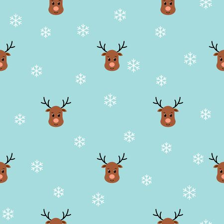 Christmas seamless pattern with reindeers and snowflakes on blue background. Vector illustration. For greeting cards, web, wallpaper, wrapping paper, scrapbooking, for printing on clothes, package.