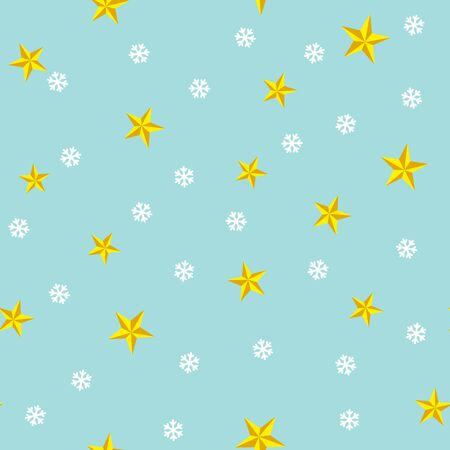 Winter seamless pattern with stars and snowflakes on blue background. Vector illustration. Christmas pattern. For web, wallpaper, wrapping paper, scrapbooking, for printing on textile, package.