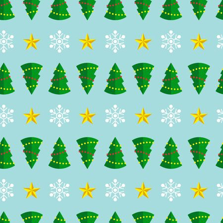 Christmas seamless pattern with christmas trees and snowflakes on blue background. Vector illustration. For web, wallpaper, wrapping paper, scrapbooking, for printing on clothes, textile, package.