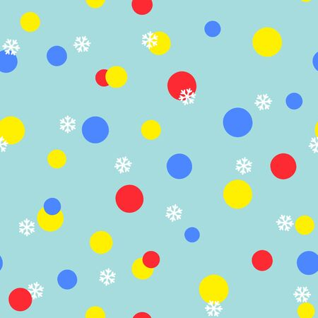 Abstract seamless pattern with colorful circles and snowflakes on blue background. Vector illustration. For web, wallpaper, wrapping paper, scrapbooking, for printing on clothes, textile, package.