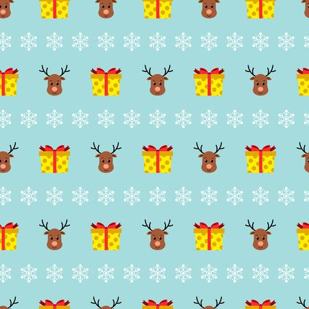 Christmas seamless pattern with reindeers, gifts, snowflakes on blue background. Vector illustration. For web design, wallpaper, wrapping paper, scrapbooking, for printing on clothes, textile, package