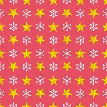 Christmas seamless pattern with stars and snowflakes on red background. Vector isolated illustration. For web design, wallpaper, wrapping paper, scrapbooking, for printing on clothes, textile, package Ilustração