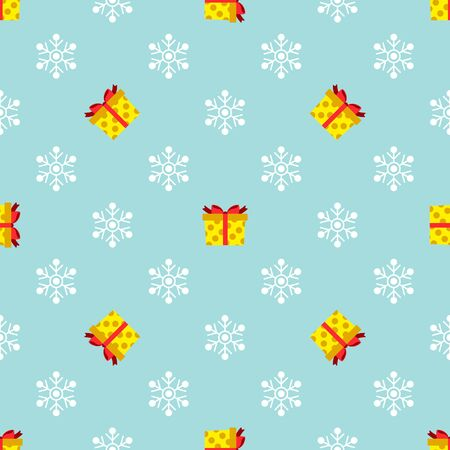 Christmas seamless pattern with gifts and snowflakes on blue background. Vector illustration. For web design, wallpaper, wrapping paper, scrapbooking, for printing on clothes, textile, package, cups.