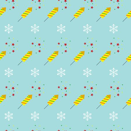 Christmas seamless pattern with fireworks and snowflakes on blue background. Vector illustration. For web design, wallpaper, wrapping paper, scrapbooking, for printing on clothes, textile, package.