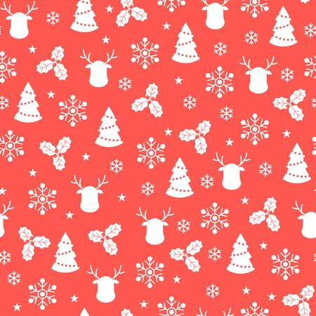 Christmas seamless pattern with flat icons on red background. Vector illustration. Winter pattern. For web design, wallpaper, wrapping paper, scrapbooking, for printing on clothes, textile, package. Ilustração