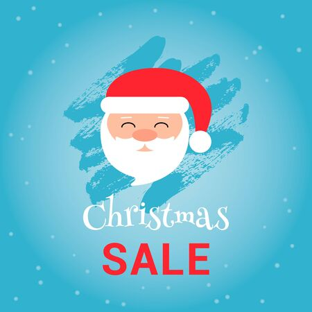 Christmas sale banner on blue background with Santa Claus and text for business promotions in shops. Vector illustration. Can be used for web design, banners, advertising and printing on leaflets. Ilustração