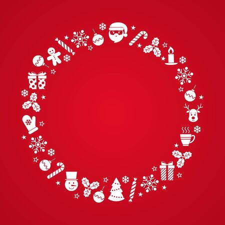 Red background for text with flat icons. Vector illustration. Christmas background. New Year card. For invitations, greeting cards, web, shop window design, for printing on packaging, cups, plates. Ilustração
