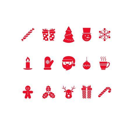 Christmas icons set. Flat design. Vector illustration.  イラスト・ベクター素材