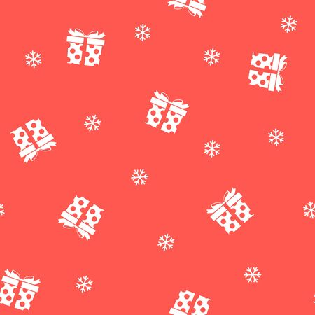 Christmas seamless pattern with gifts and snowflakes on red background. Vector illustration. Winter pattern. For web design, wrapping paper, scrapbooking, for printing on clothes, textile, package.