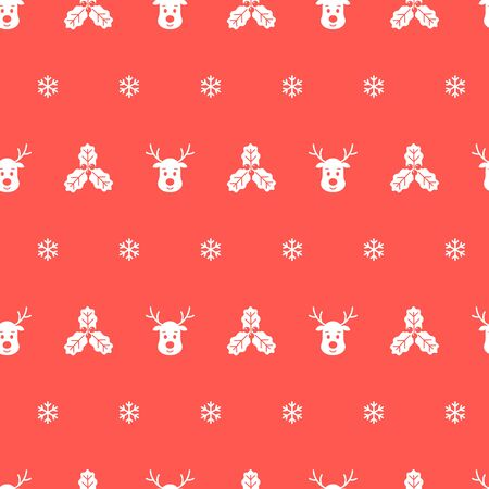 Christmas seamless pattern with reindeer and holly on red background. Vector illustration. Winter pattern. For web design, wrapping paper, scrapbooking, for printing on clothes, textile, package.
