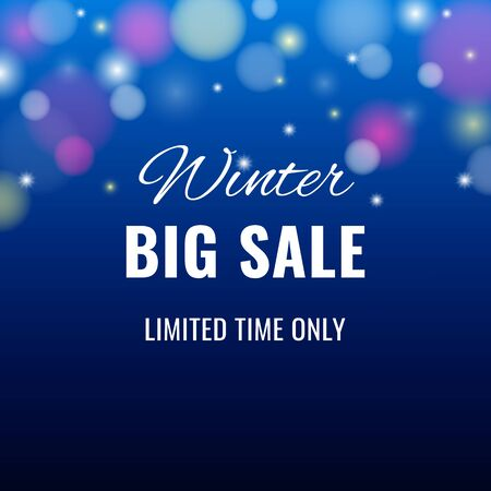 Winter sale banner on abstract background with light effect and with text for business promotions in shops. Vector illustration. Can be used for web design, banners, advertising, blogs and printing