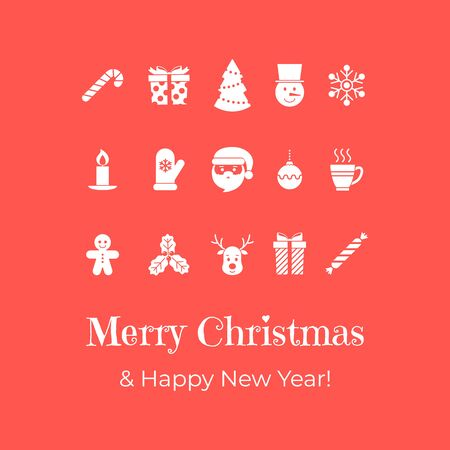 Christmas banner on red background. Banner with flat icons and text. Vector illustration. New Year card. For invitations, greeting cards, web, shop window design, for printing on packaging, cups.