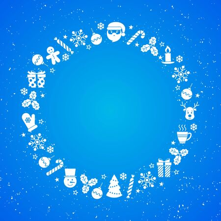 Blue background for text with flat icons and texture. Vector illustration. Christmas background. For invitations, greeting cards, web, banners, shop window design, for printing on packaging, plates.