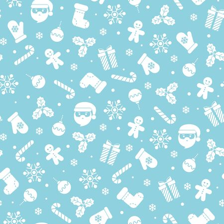 Christmas seamless pattern with different flat icons on blue background. Vector illustration. For web design, wallpaper, wrapping paper, scrapbooking, for printing on clothes, textile, package, bags.