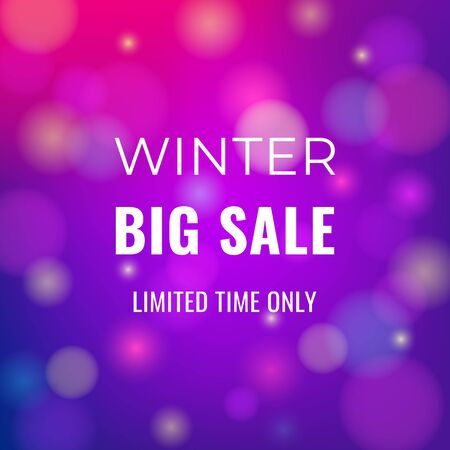 Winter sale banner on abstract blurred background with text for business promotions in shops. Vector isolated illustration. Can be used for web design, banners, advertising, blogs and printing.