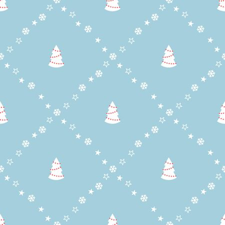 Seamless pattern with Christmas trees. Vector illustration.