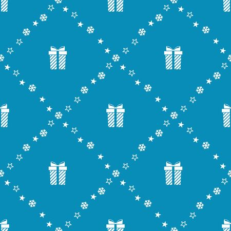 Christmas seamless pattern with gifts. Vector illustration. Ilustração