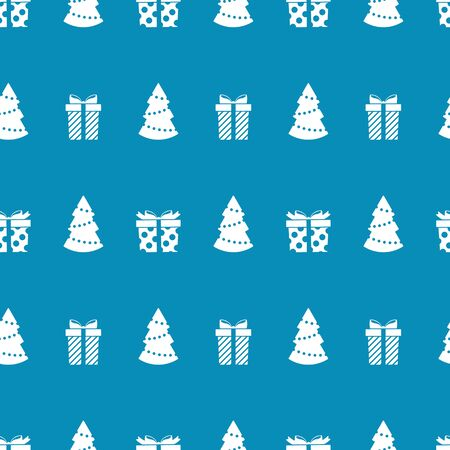 Christmas seamless pattern with Christmas trees and gifts on blue background. Vector illustration. New Year pattern. For web, wrapping paper, scrapbooking, for printing on textile, cups, package.