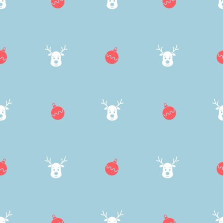Christmas seamless pattern with reindeer. Vector illustration.