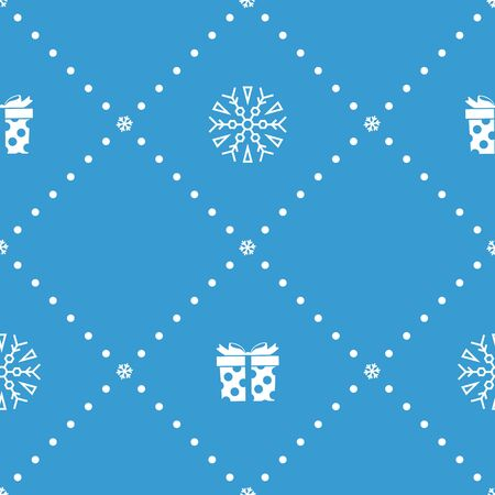 Christmas seamless pattern with gifts and snowflakes on blue background. Vector illustration. New Year pattern. For web design, wrapping paper, scrapbooking, for printing on textile, crockery, package Ilustração