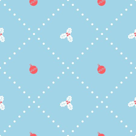 Christmas seamless pattern with holly. Vector illustration.
