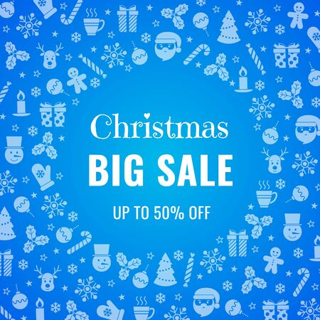 Sale banner on blue background. Vector illustration. Special discount. For web design, banners and printing on leaflets, posters. Ilustração