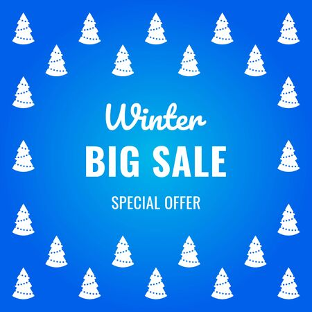 Christmas sale banner on blue background with Christmas trees and text for business promotions in shops. Vector illustration. Special offer. For web design, banners and printing on leaflets, posters.