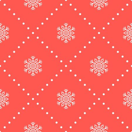 Christmas seamless pattern with big snowflakes on red background. Vector illustration. New Year background. For web design, wrapping paper, scrapbooking, for printing on textile, crockery, package.