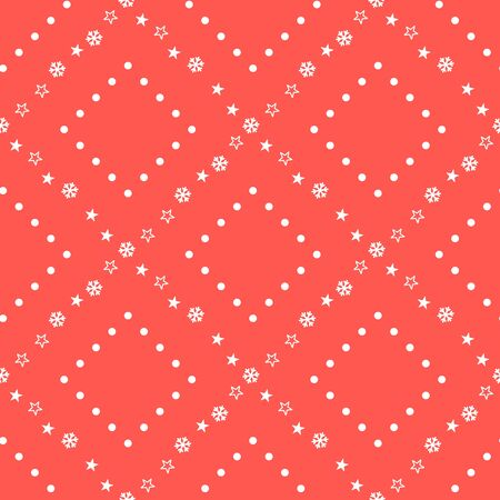 Christmas seamless pattern with snowflakes and stars on red background. Vector illustration. New Year background. For web, wrapping paper, scrapbooking, for printing on textile, crockery, package.