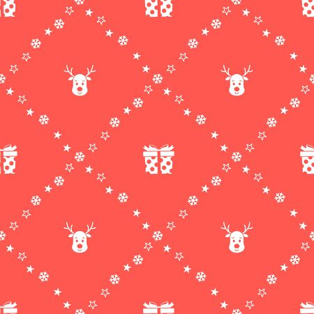 Christmas seamless pattern with reindeers and gifts on red background. Vector illustration. New Year background. For web, wrapping paper, scrapbooking, for printing on textile, crockery, package. Ilustração