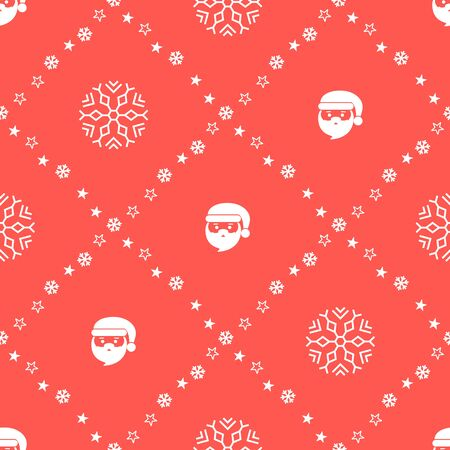 Christmas seamless pattern with Santa Claus on red background. Vector illustration. New Year background. For web design, wrapping paper, scrapbooking, for printing on textile, bags, crockery, package. Ilustração