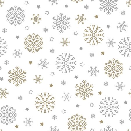 Reticolo senza giunte di Natale con fiocchi di neve e stelle su sfondo bianco. Illustrazione vettoriale. Sfondo di Capodanno. Per web, carta da regalo, scrapbooking, per stampa su tessuto, stoviglie, confezione.