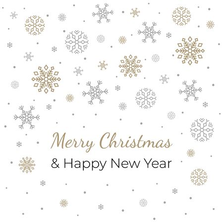 Christmas banner on white background with text and snowflakes. Vector illustration. Christmas card. For invitations, greeting cards, web, shop window design, for printing on packaging, cups, plates.