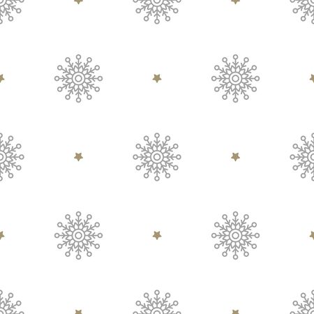 Christmas seamless pattern with big snowflakes and small stars on white background. Vector illustration. New Year background. For web, wrapping paper, scrapbooking, for printing on textile, package.