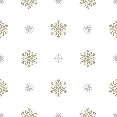 Christmas seamless pattern with big and small snowflakes on white background. Vector illustration. New Year background. For web design wrapping paper, scrapbooking, for printing on textile, package.