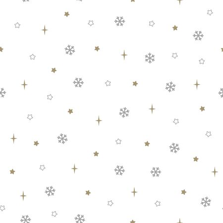 Christmas seamless pattern with snowflakes and small stars on white background. Vector illustration. New Year background. For web design, wrapping paper, scrapbooking, for printing on textile, package