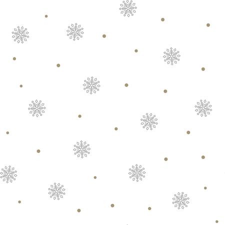 Christmas seamless pattern with gray snowflakes on white background. Vector illustration. New Year background. For web design, wrapping paper, scrapbooking, for printing on textile, crockery, package.