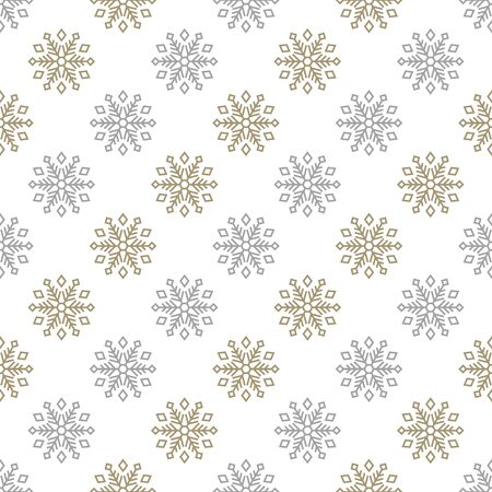 Christmas seamless pattern with big gold and gray snowflakes on white background. Vector illustration. New Year background. For web, wrapping paper, scrapbooking, for printing on textile, package. Ilustração