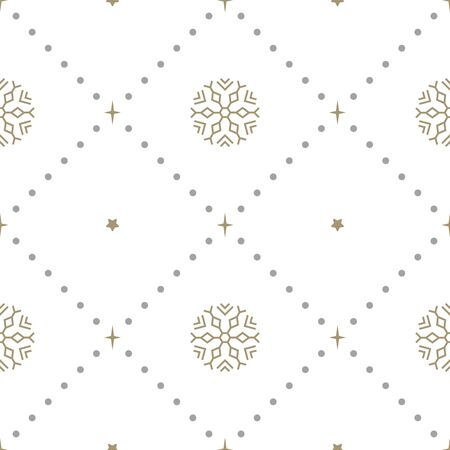 New Year seamless pattern with snowflakes and stars on white background. Vector illustration. Christmas background. For web, wrapping paper, scrapbooking, for printing on textile, crockery, package.